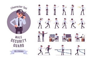 Male security guard character set