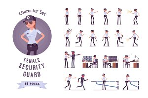 Female security guard character set