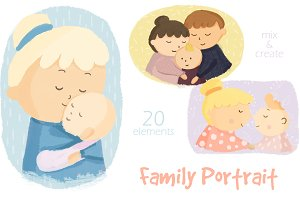 Family Portrait Illustration Clipart