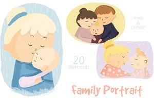 Family Portrait Illustration Clipart