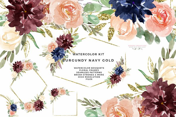 Burgundy Navy Gold Watercolor Flora…