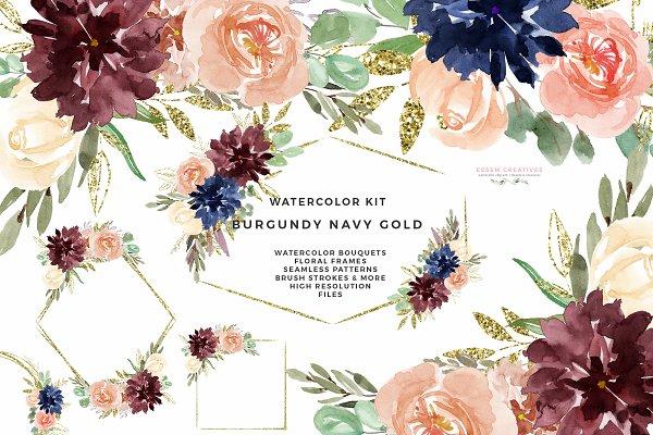 Burgundy Navy Gold Watercolor Flora…