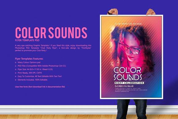 color sounds party flyer flyer templates creative market