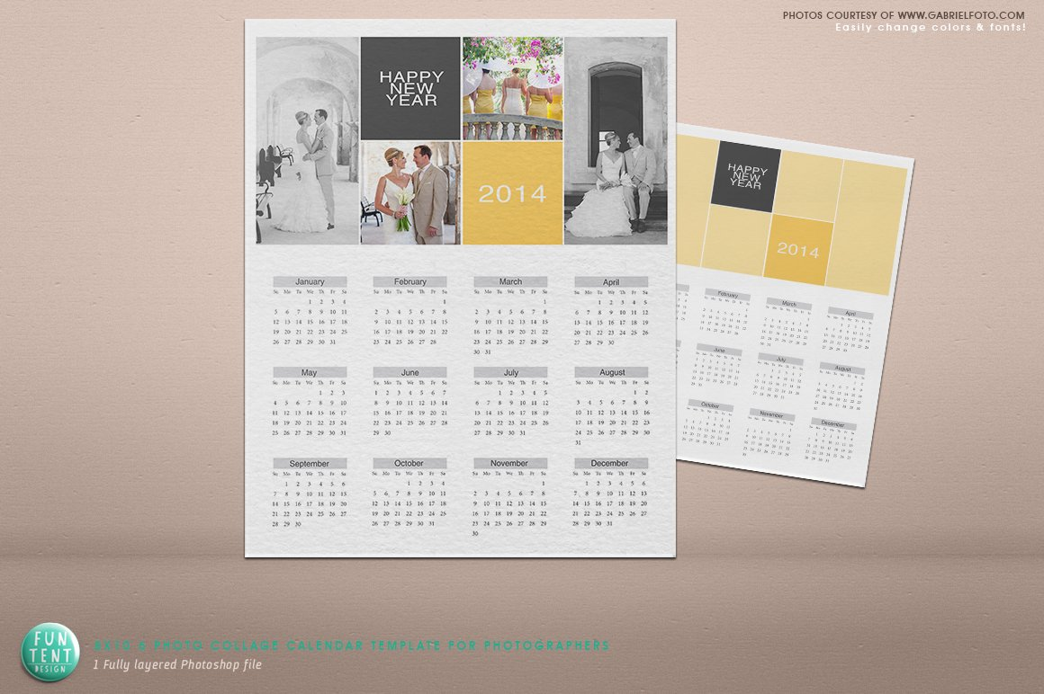 Art Calendar Business Magazine : Psd photo collage calendar invitation templates