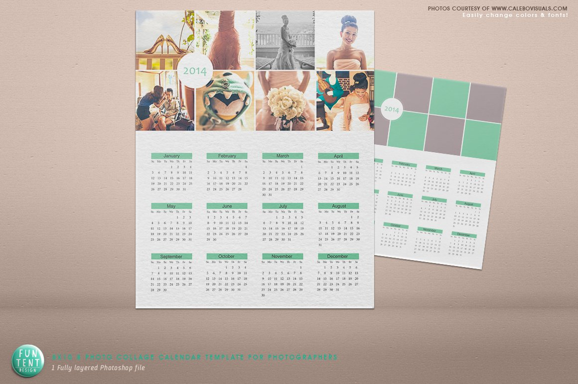 Serenity 8 Photo 2014 Calendar Psd Presentation Templates