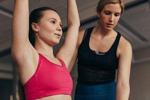 Close up of a woman doing pilates
