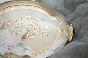 Golden Vintage Tray on Lace Fabric