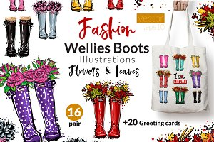 Wellies Boots Fashion Illustration