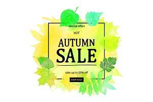 Fall leaf. Sale lettering