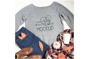 Gray Sweatshirt Fall Mockup with Mug