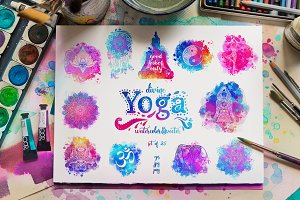Divine Yoga. 25 Watercolor&Vector