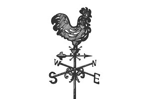 Weather vane engraving vector