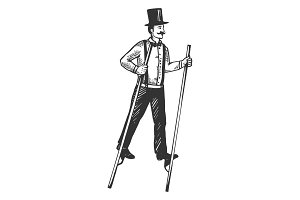 Man on stilts engraving vector