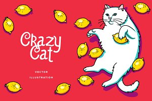 Crazy Cat Vector Illustration