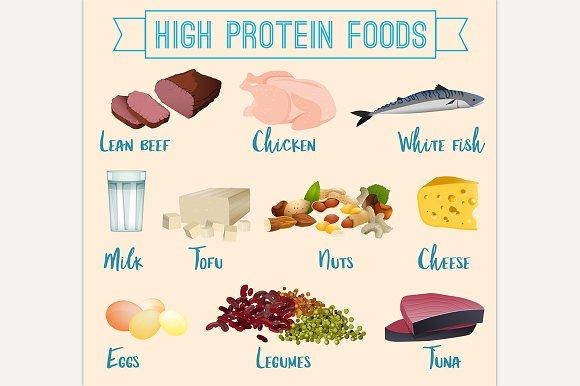 High Protein Foods Set Illustrations Creative Market