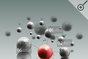 Red sphere with infographic elements