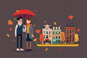 Couple in Autumn Town