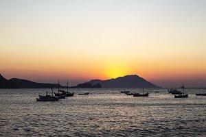 Amazing sunset  on a greek island