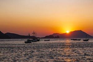 Amazing sunset  on a greek island.