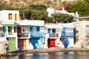 Colorful fishermen houses in Klima,