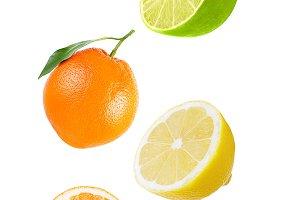 Flying orange, lime and lemon