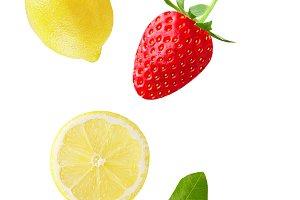 Flying lemon and strawberry isolated