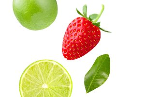 Flying lime and strawberry isolated