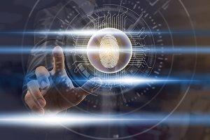 Businessman Fingerprint scan for sup