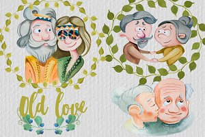 Watercolor Old Love Clipart