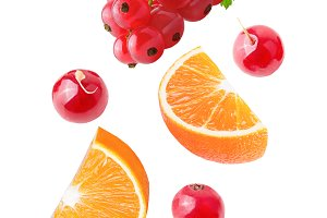 Flying orange and red currant