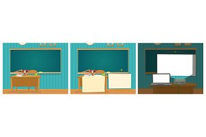 Interior of classroom with desk and
