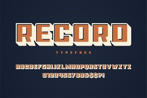 Record display font design, alphabet