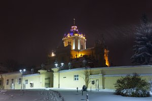Night winter St. George Cathedral in