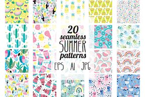 20 summer seamless patterns