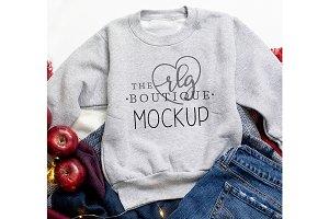 Gray Sweatshirt Fall Mockup