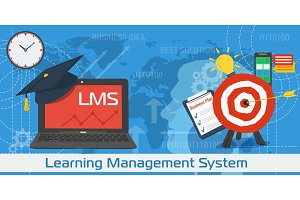 Vector Horizontal Banner of LMS