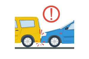 Car accident flat illustration