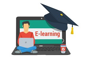 concept e-learning, man sitting on