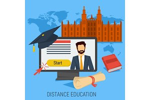 DISTANCE ONLINE EDUCATION CONCEPT