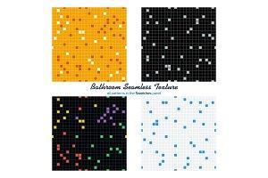 Four bathroom seamless pattern set
