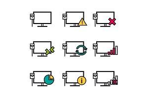 Nine line icons - Computer