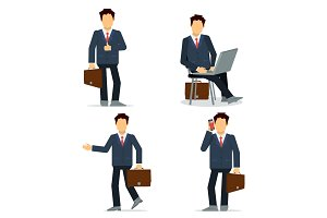 Set of businessmen character in
