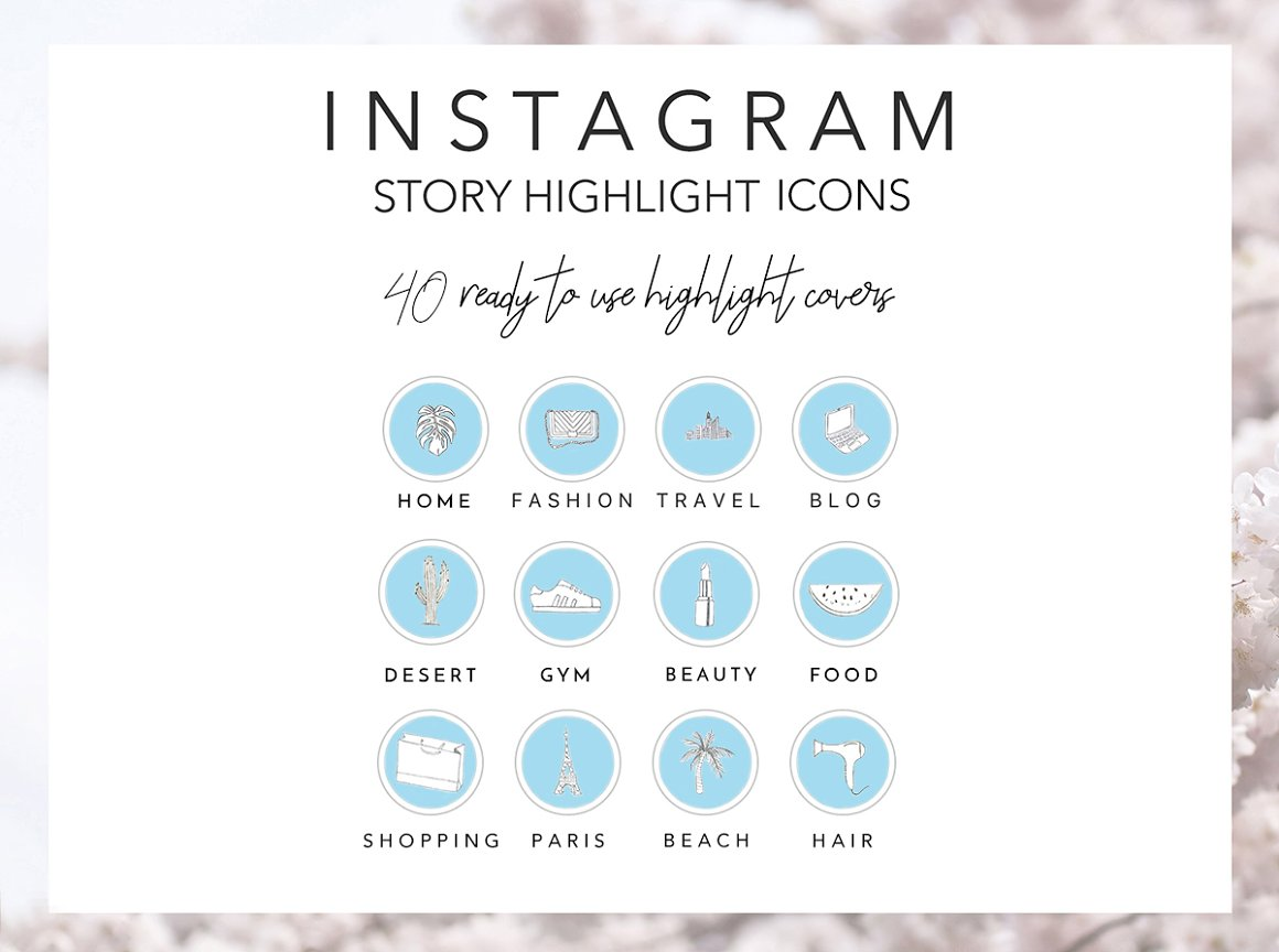 40 Blue Instagram Highlight Icons