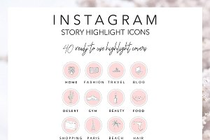 40 Instagram Highlight Icons Pink