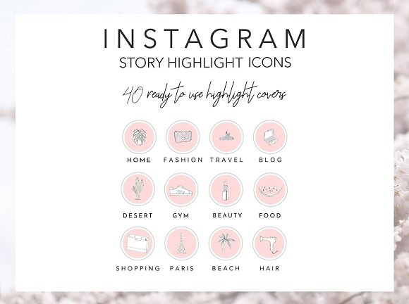 40 Instagram Highlight Icons Pink in Instagram Templates