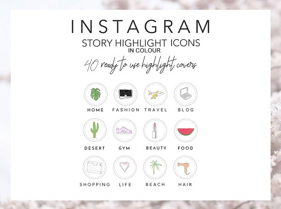 40 Instagram Story Icons in Colour