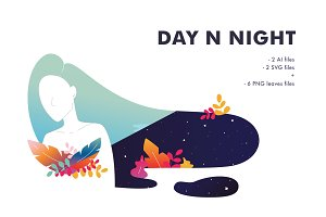 Day n Night Vector illustration