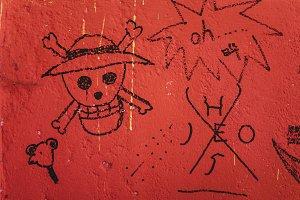 Crude scull graffiti