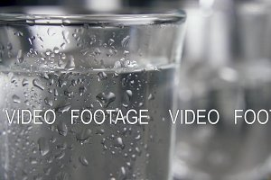 Slow motion drops on a glass shot of