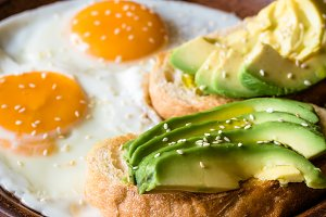 Fried eggs with toasts and avocado